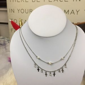 """Jewelry - Adjustable cross + pearl necklace 16-18"""""""